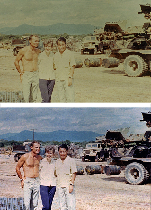 Before and after photo showing restoration of faded and color-shiftedphoto